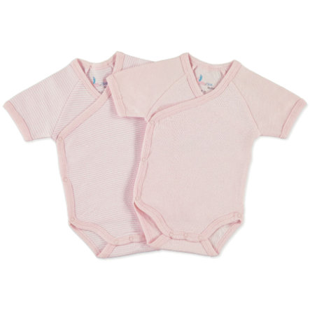 pink or blue Girls Newborn Wickelbody 1/4 Arm 2er Pack rosa, geringelt