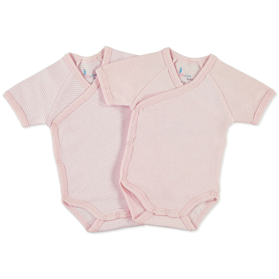 pink or blue newborn omlottbody  1/4 ärm 2-pack rosa, vit