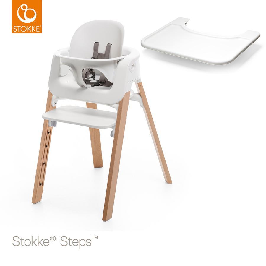 STOKKE® Steps™ Hochstuhl weiß Buche natur inkl. Baby Set weiß + Gratis Baby Set Tray weiß