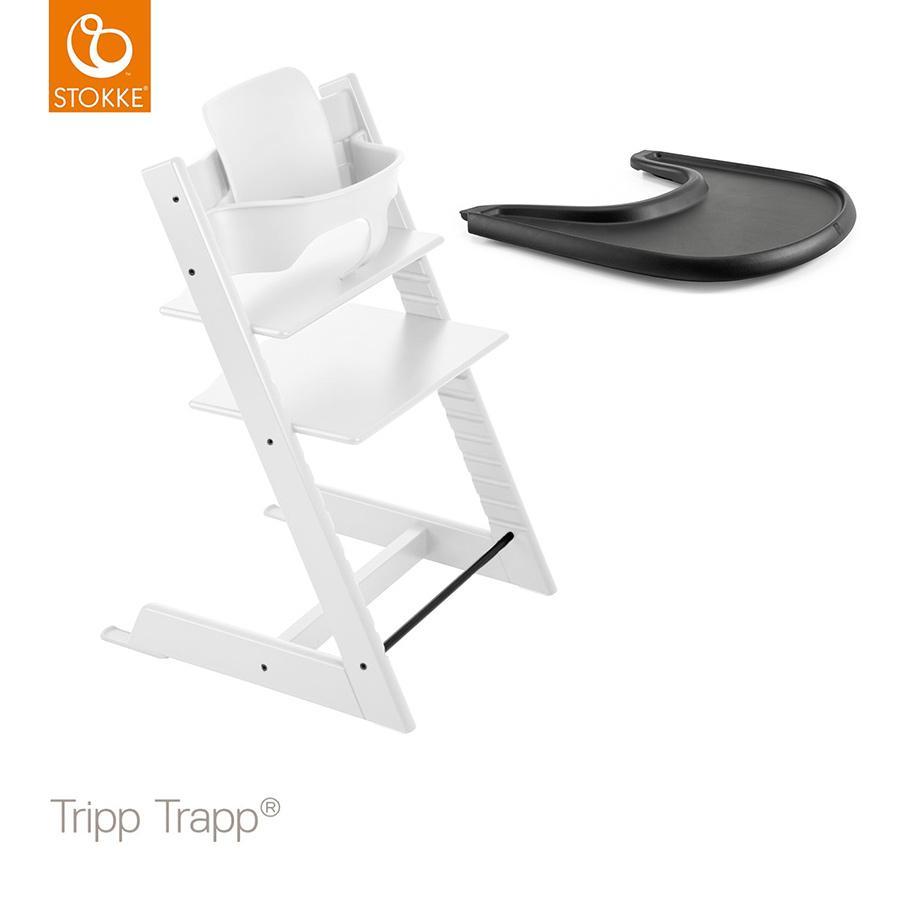 STOKKE® Tripp Trapp® Hochstuhl inkl. Baby Set in Buche weiß  + Gratis Tripp Trapp® Tray schwarz