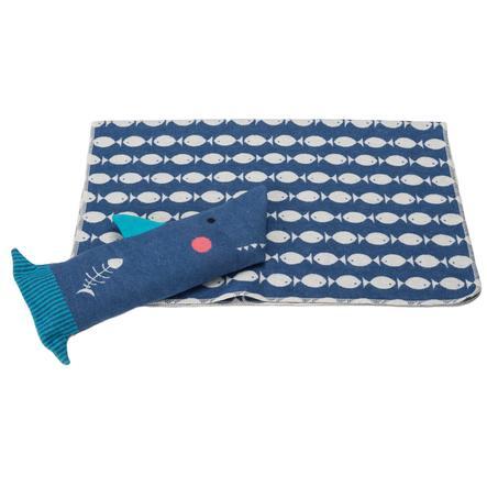 DAVID FUSSENEGGER Set manta en terciopelo de tiburón muñeca azul 70 x 90 cm