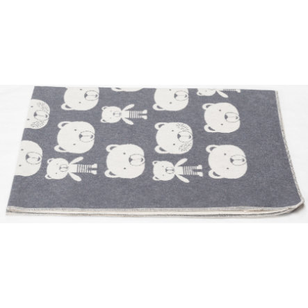 DAVID FUSSENEGGER couverture tête d'ours gris 100 x 140 cm