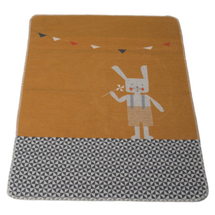 DAVID FUSSENEGGER babytæppe med strikket kanin gylden gul 70 x 90 cm