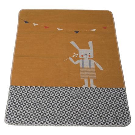 DAVID FUSSENEGGER Babyteppe med strikket kanin gullgul 70 x 90 cm