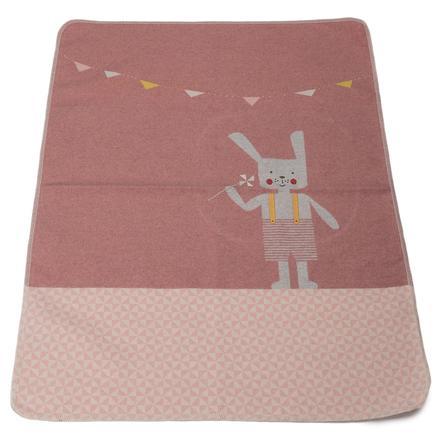 DAVID FUSSENEGGER Baby deken met gebreide konijnenrouge 70 x 90 cm