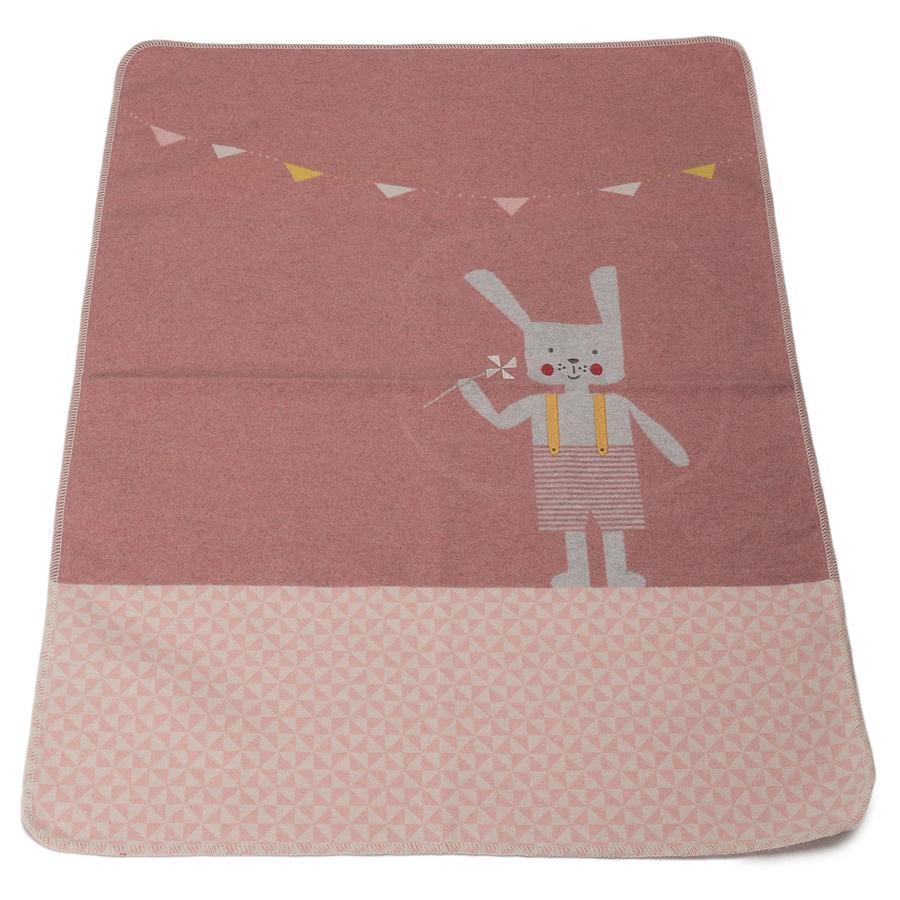 DAVID FUSSENEGGER Manta de bebé con colorete de conejo de punto 70 x 90 cm