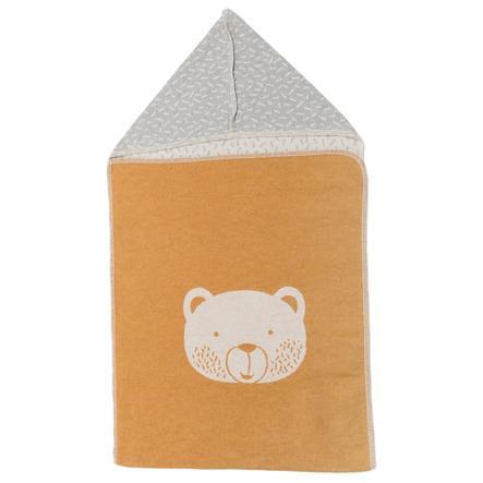 DAVID FUSSENEGGER Puckteppe med hette bjørn gylden gul 45 x 76 cm