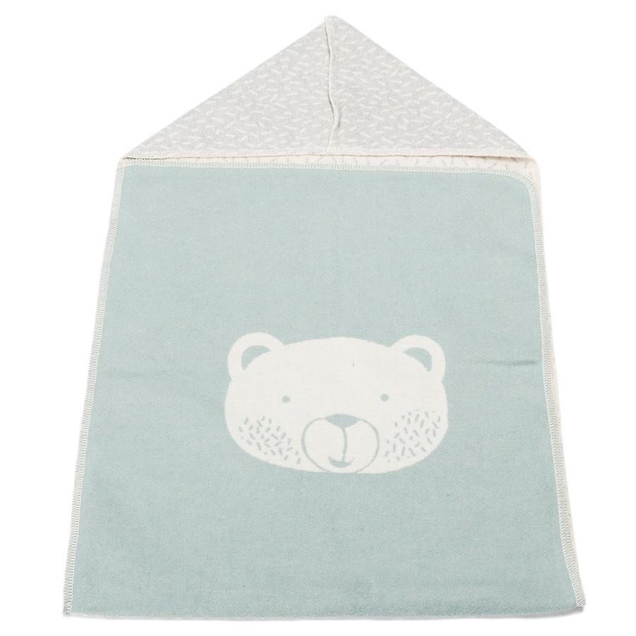 DAVID FUSSENEGGER Puck-tæppe med hætte bjørn lysegrøn 45 x 76 cm