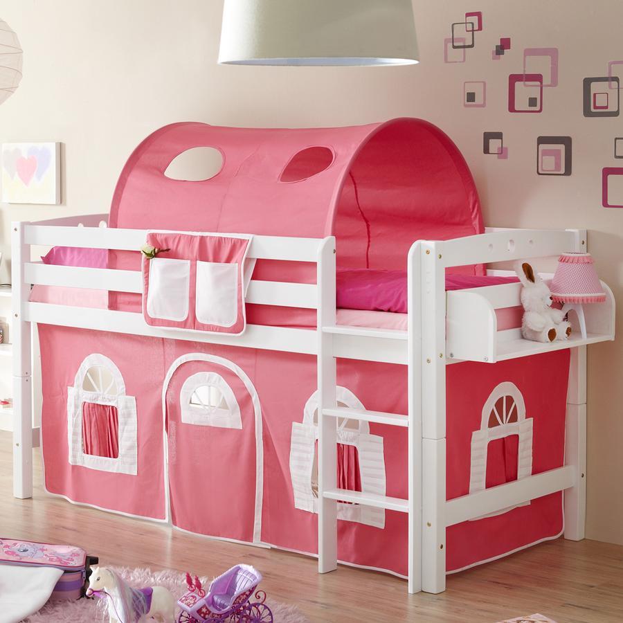 TICAA Lit mezzanine enfant TIMMY R hêtre massif blanc, rose/blanc