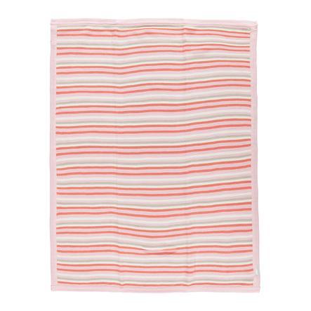LITTLE  Manta rosa de punto rayada 75x100 cm