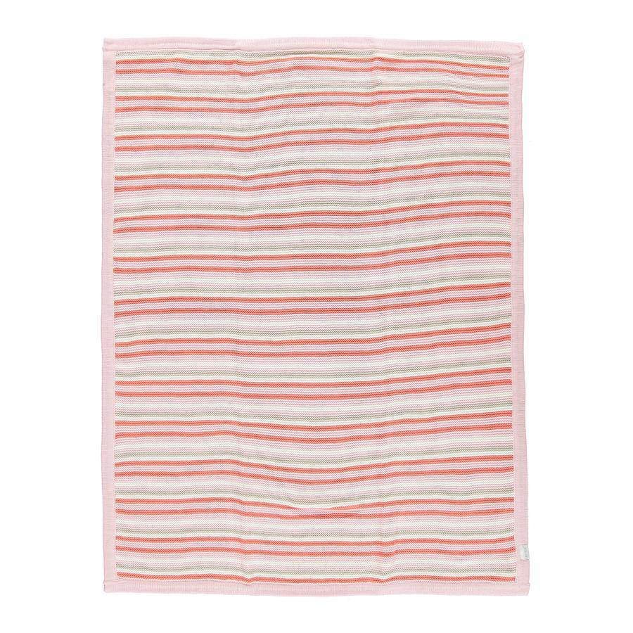 LITTLE Strikket tæppe lyserød stribet 75x100 cm