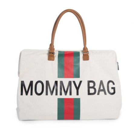 CHILDHOME Mommy Bag Groß Canvas Grey Stripes Green / Red
