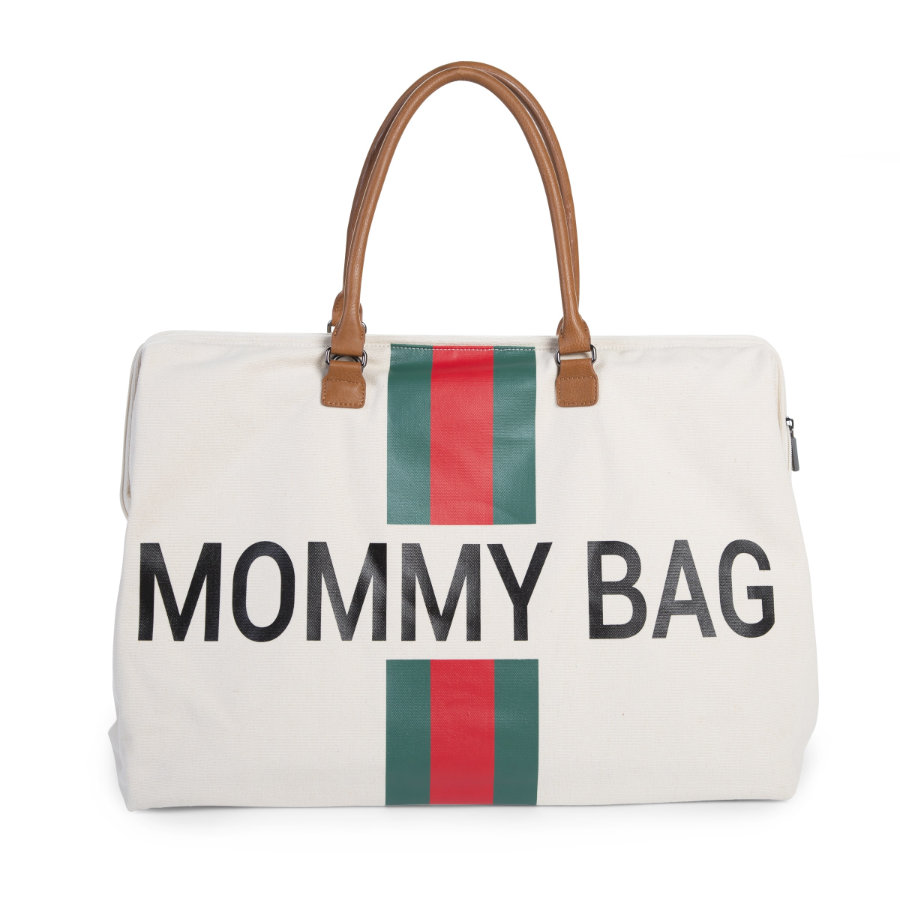 CHILDHOME Mommy Bag Groß Canvas Beige Stripes Green / Red
