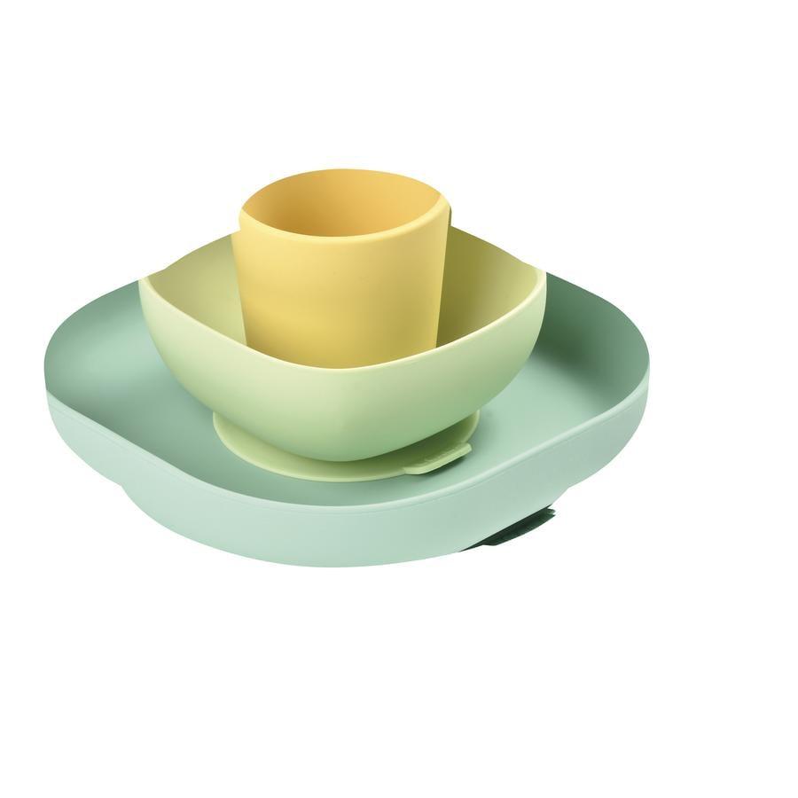 BEABA Coffret vaisselle enfant silicone jaune/vert 6 m+ 4 pièces