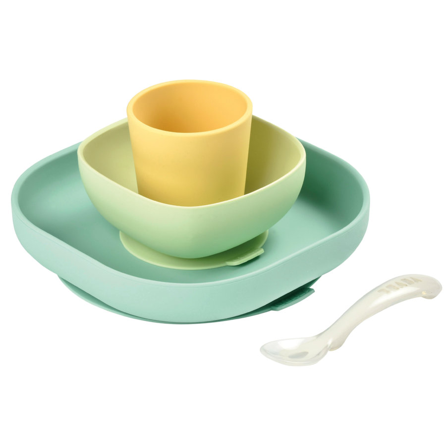 BEABA sada nádobí 4 ks žlutá/zelená od 6. měsíce