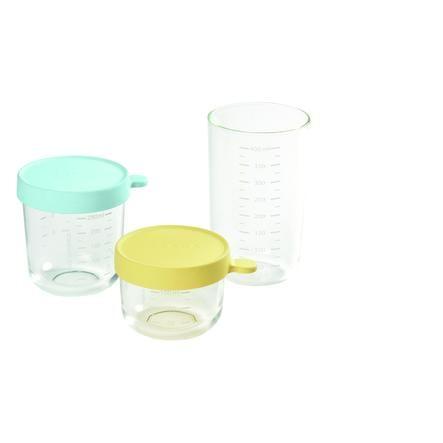 BEABA Coffret 3 pots de conservation verre bleu/jaune 1x150 ml, 1x250 ml, 1x400 ml