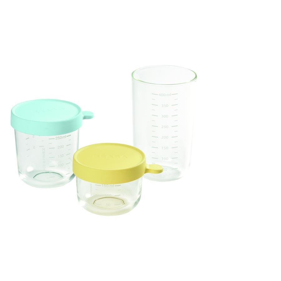 BEABA Juego de contenedores de almacenamiento (150 ml amarillo, 250 ml azul claro, 400 ml azul oscuro)