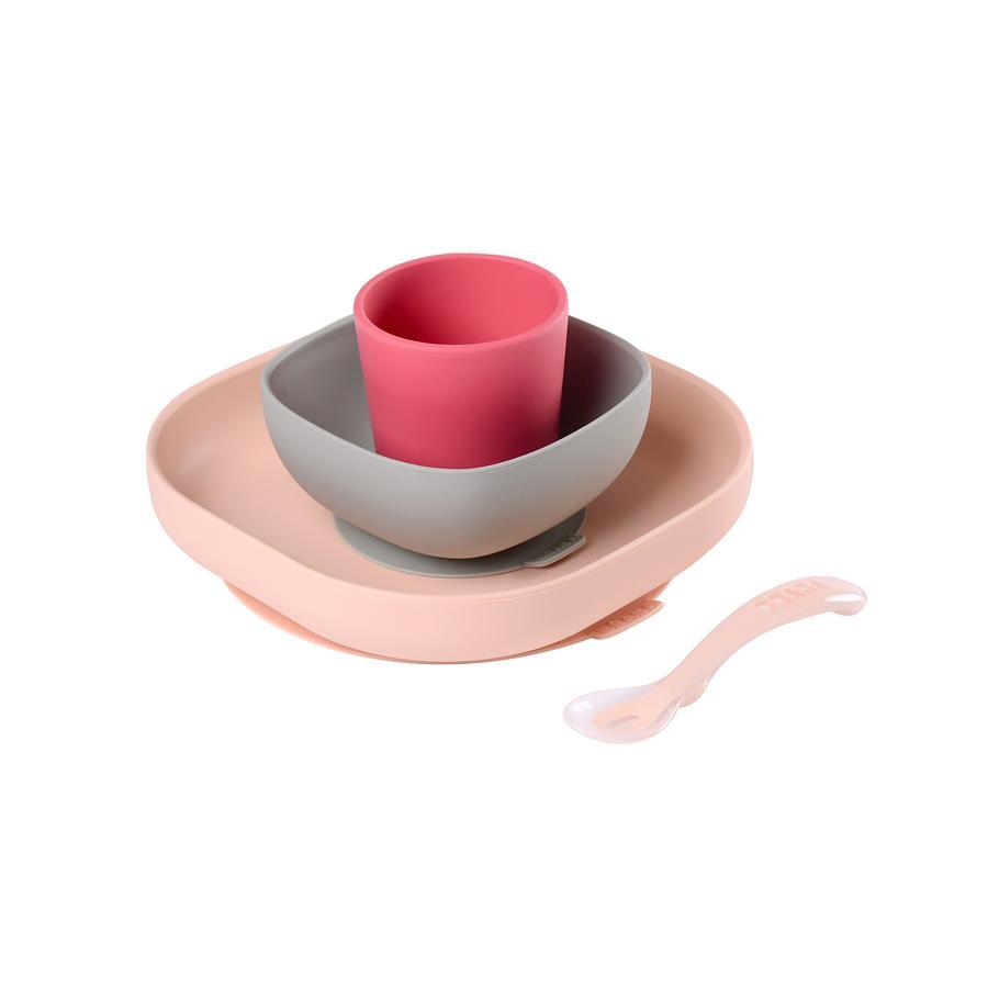 BEABA Geschirrset Silikon 4- teilig Rosa / Pink ab dem 6. Monat