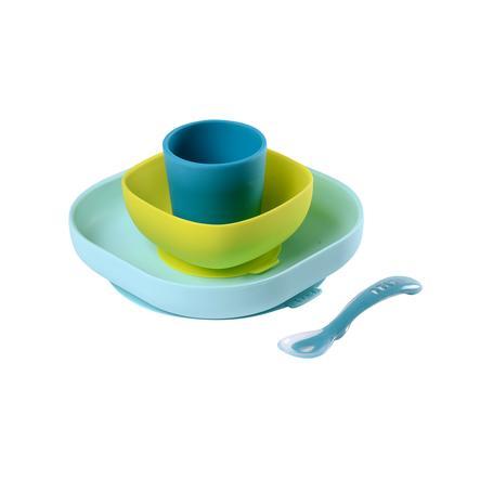 BEABA Coffret repas 4 pièces silicone bleu/vert, 6 m+
