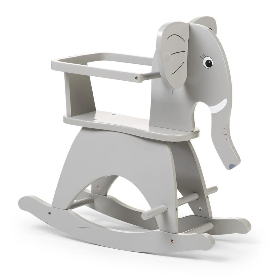 CHILDHOME Schaukelelefant mit Bügel grau