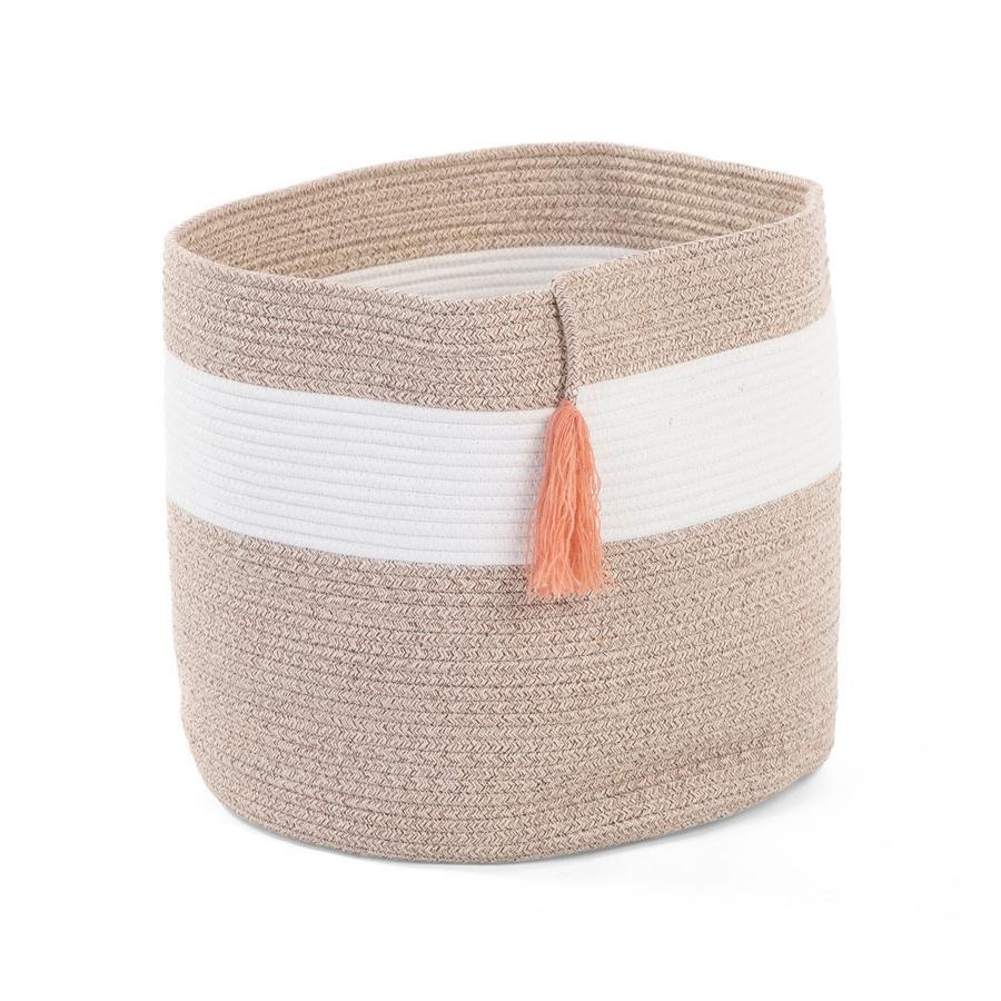 CHILDHOME Panier de rangement jouets pompon corde coton blanc beige nude 38x40 cm