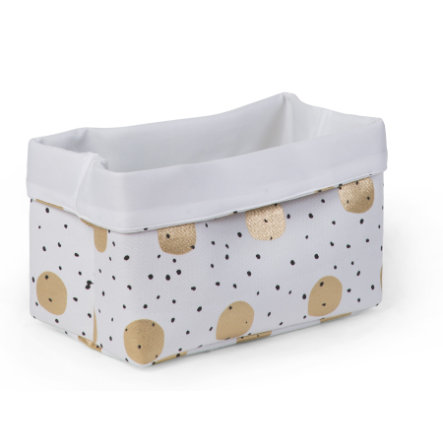 CHILDHOME Aufbewahrungsbox weiß Gold Dots 32 x 20 x 20 cm