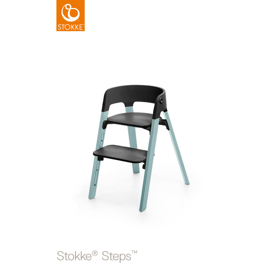 STOKKE® Steps™ Hochstuhl schwarz Buche Aqua Blue
