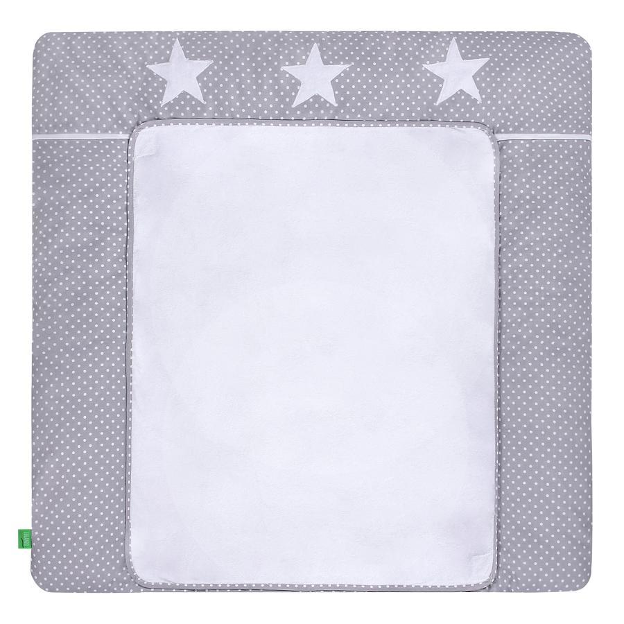 LULANDO Wickelauflage mit 2 Bezügen Pünktchen grau - Sterne 75 x 85 cm