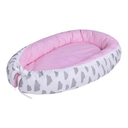 LULANDO Babynest multifunktional Wölkchen grau/ Sternchen rosa