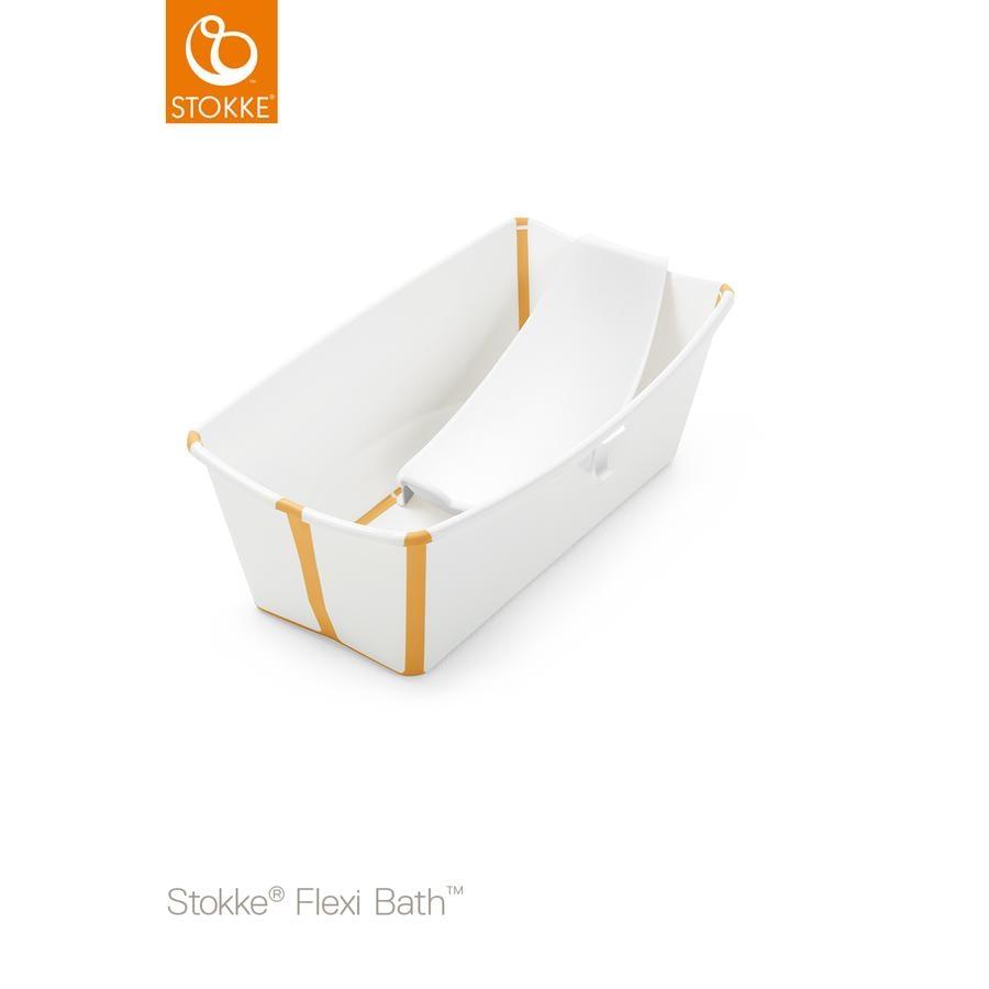 STOKKE® Badewanne Flexi Bath™ Set mit hitzeempfindlichem Stöpsel und Neugeborenenaufsatz gelb ab der Geburts