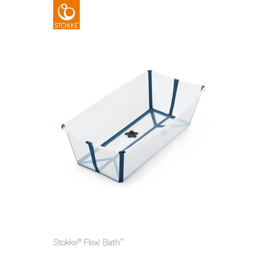 STOKKE® Badewanne Flexi Bath XL™ extra groß transparent blau mit hitzeempfindlichem Stöpsel ab der Geburt