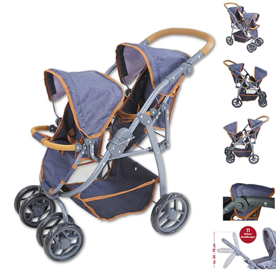 knorr® toys tvillingdukkevogn Milo - mørk blå