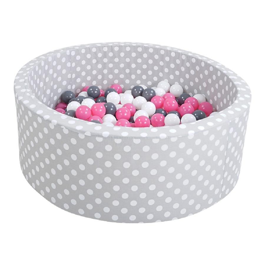 knorr® toys Piscine à balles enfant soft grey white dots, 300 balles crème/gris/rose