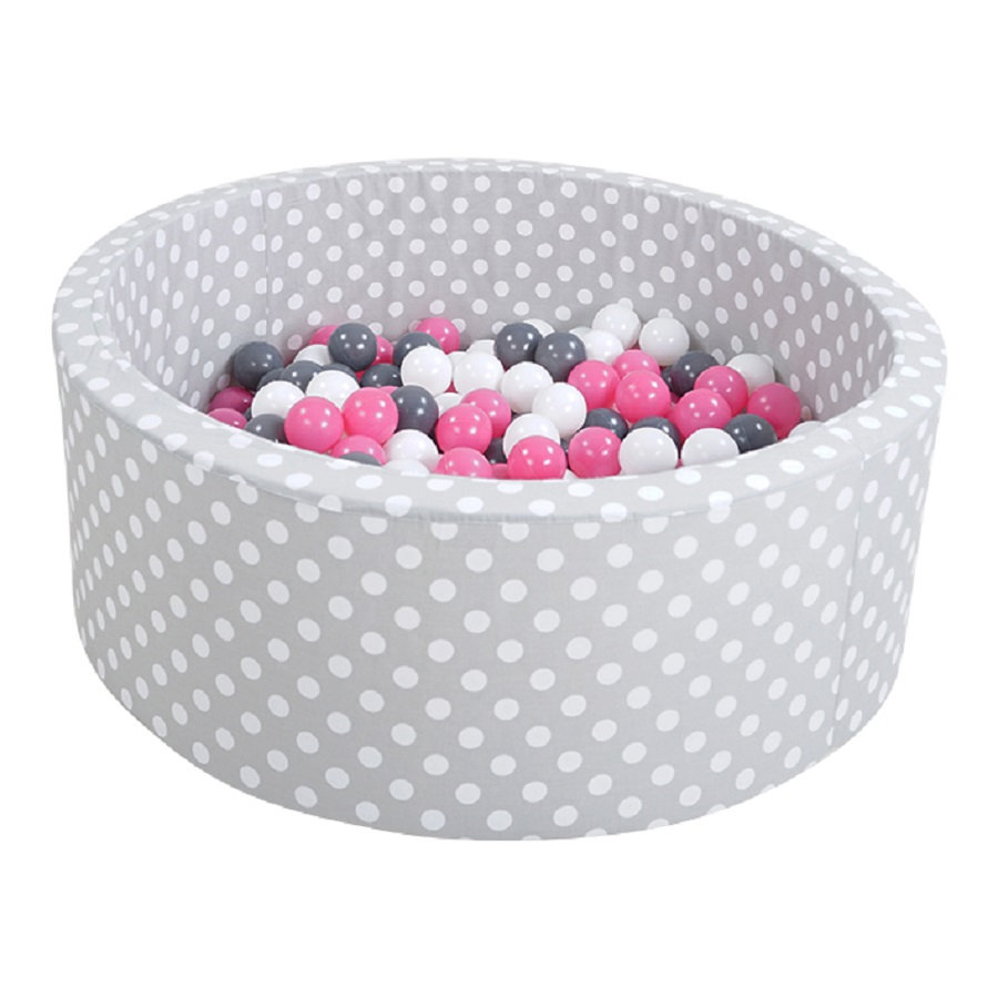 knorr® toys Suchy basen z piłeczkami - Grey white dots inkl. 300 piłeczek creme/grey/rose