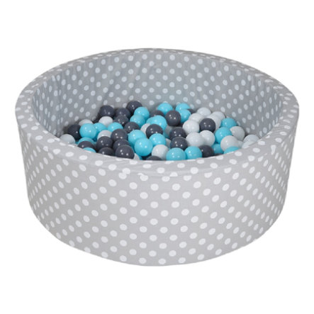 knorr® toys Ballenbak soft Grey white dots inclusief 300 ballen creme/grey/lightblue