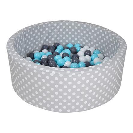 knorr® toys Suchy basen z piłeczkami - Grey white dots inkl. 300 piłeczek creme/grey/lightblue