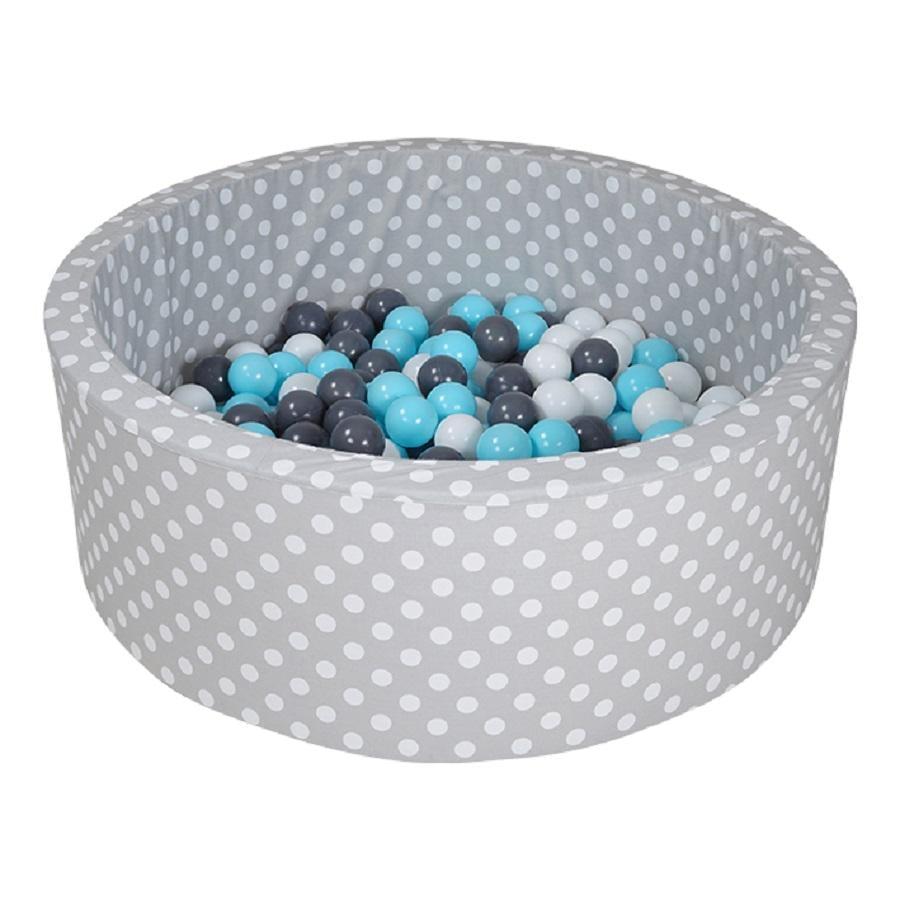 knorr® toys Bällebad soft - Grey white dots inklusive 300 Bälle creme/grey/lightblue