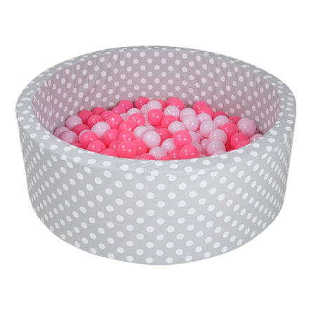 zabawki knorr® z miękką kąpielą kulkową - Szare white kropki inklusive 300 kulki miękkie różowe