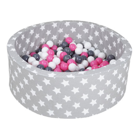 knorr® toys Bällebad soft - Grey white stars inklusive 300 Bälle creme/grey/rose