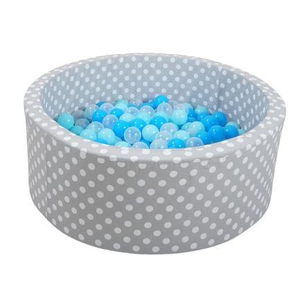 knorr® toys Bällebad soft - Grey white dots inklusive 300 Bälle soft blue/blue/transparent