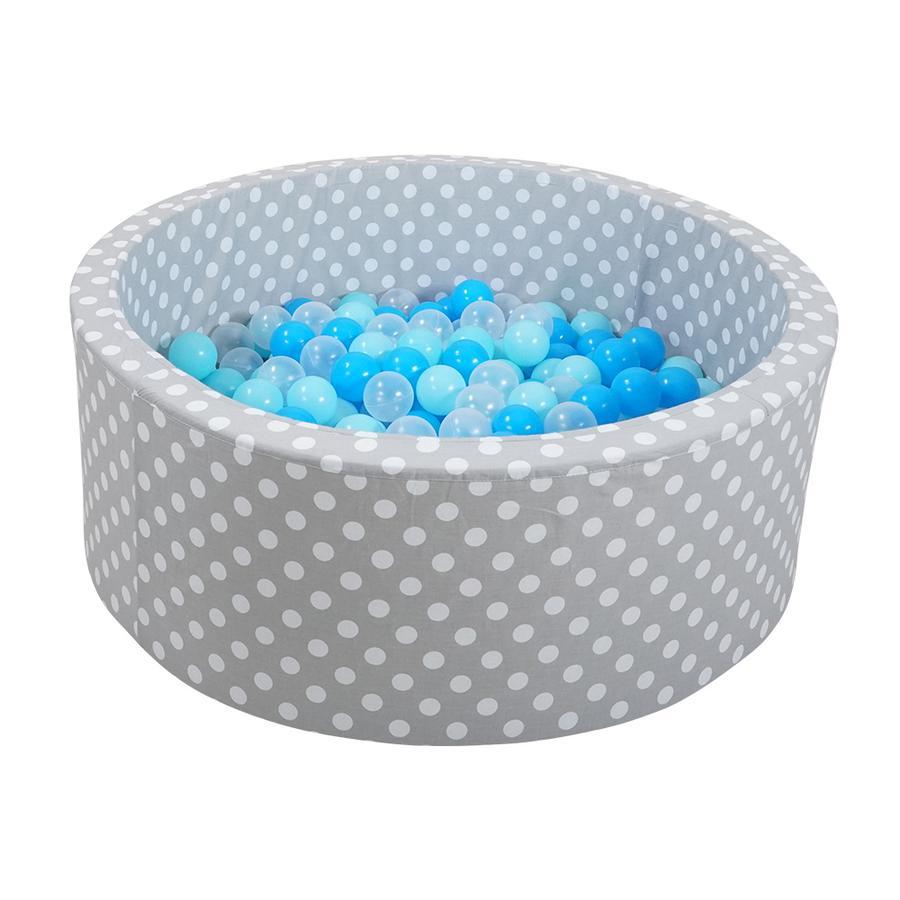 Knorr® hračka míčová koupel měkká - šedé bílé tečky včetně 300 kuliček měkká modrá / modrá / transparentní