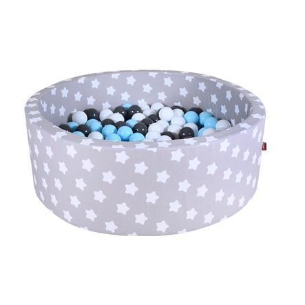 knorr® toys Piscine à balles enfant soft grey white stars, 300 balles crème/gris/bleu clair