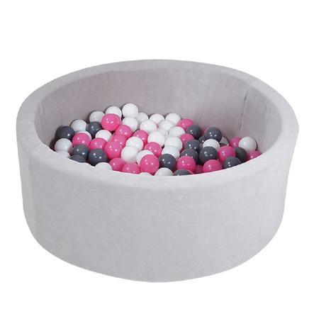 knorr® toys Piscine à balles enfant soft grey, 300 balles crème/gris/rose