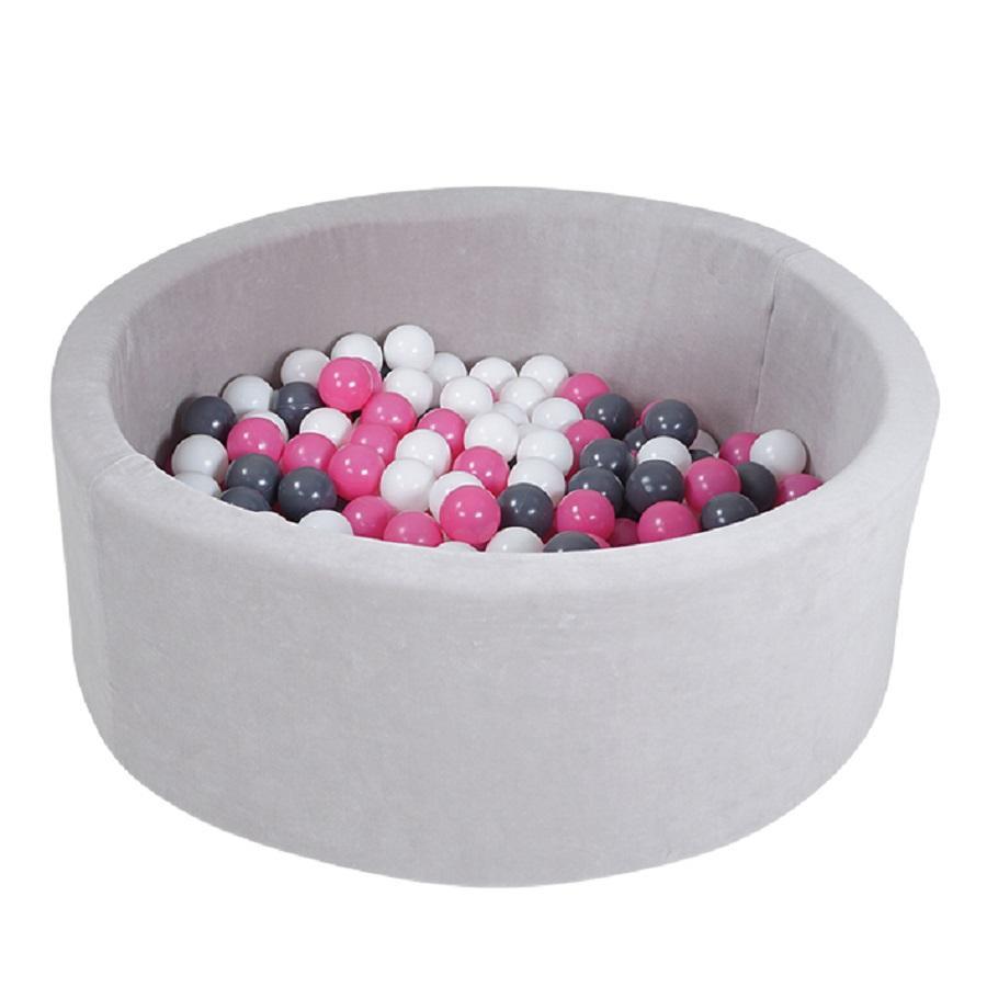 knorr® toys Bällebad soft - Grey inklusive 300 Bälle soft creme/grey/rose
