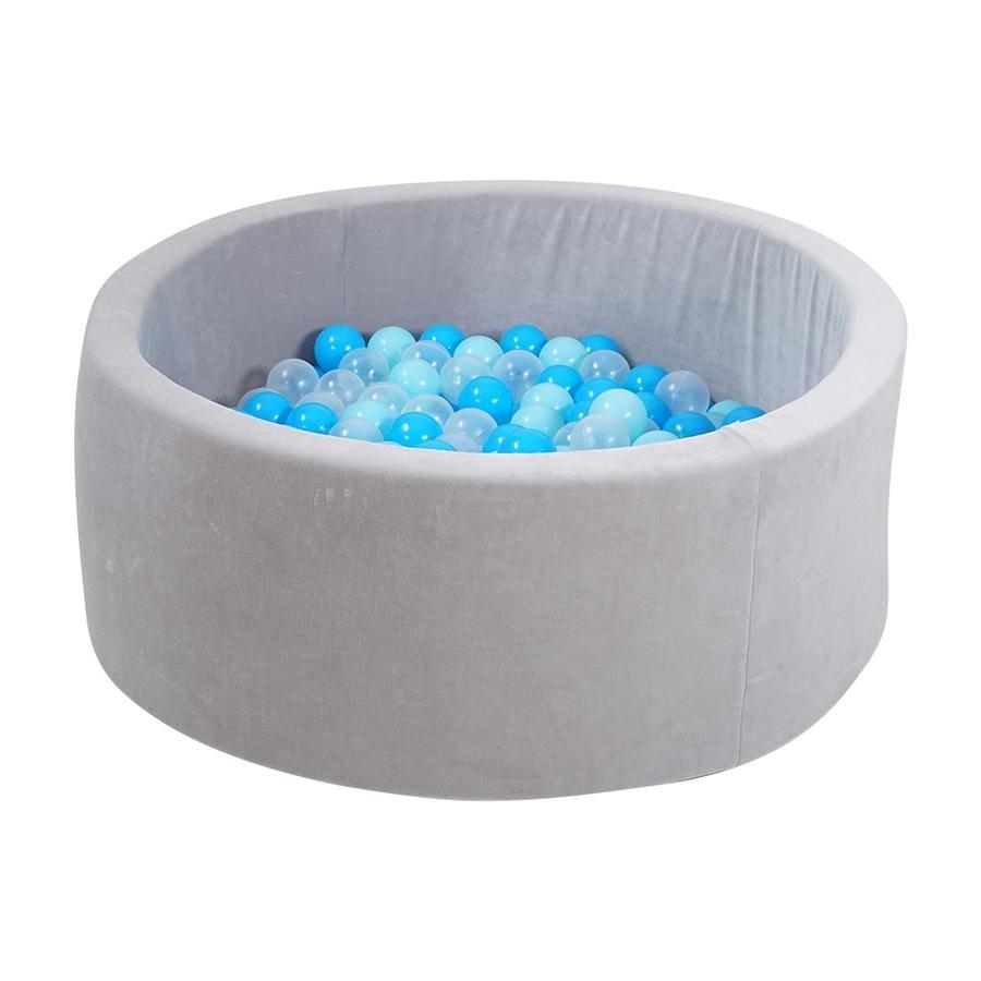 zabawki knorr® z miękką kąpielą kulkową - szare inklusive 300 kulki z miękkim niebieskim/niebieskim/ transparent