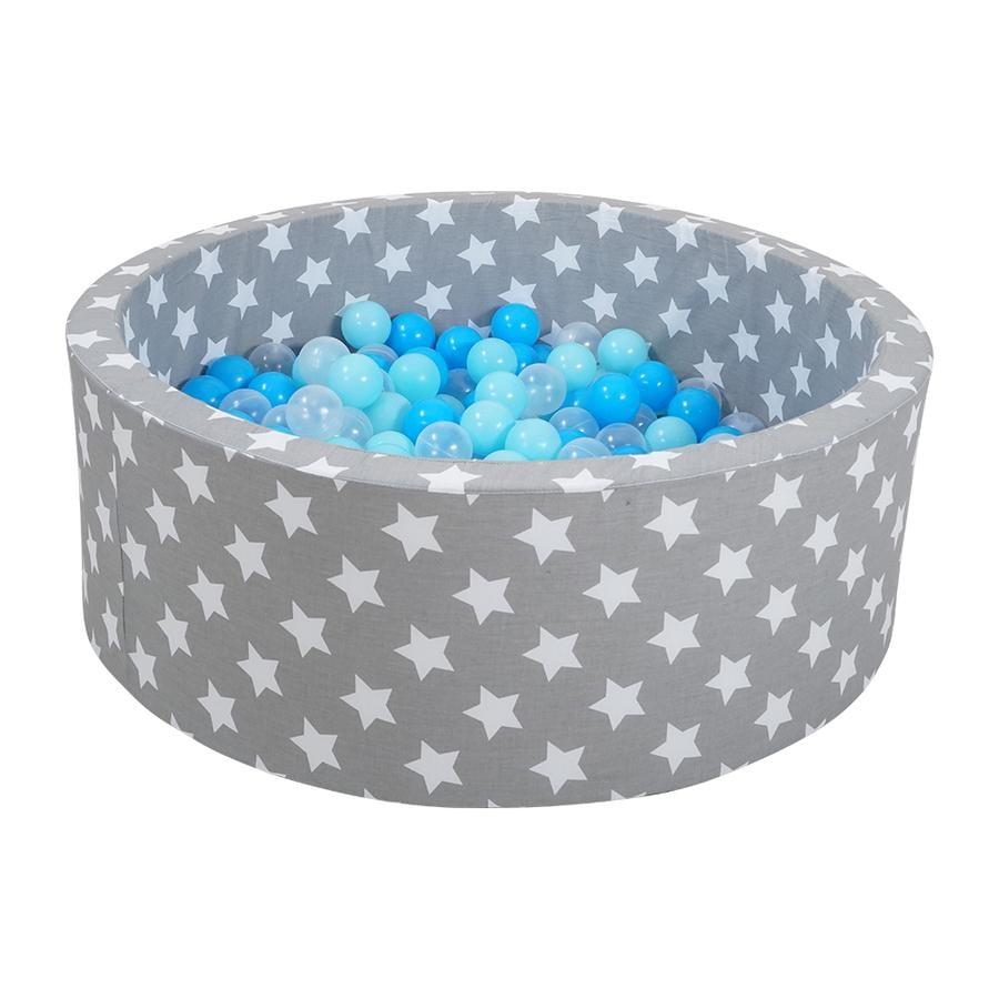 knorr® toys Piscine à balles enfant soft grey white stars, 300 balles bleu clair/bleu/transparent