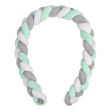 LULANDO sengeslange i flettemønster grå/mint/hvit 300 cm