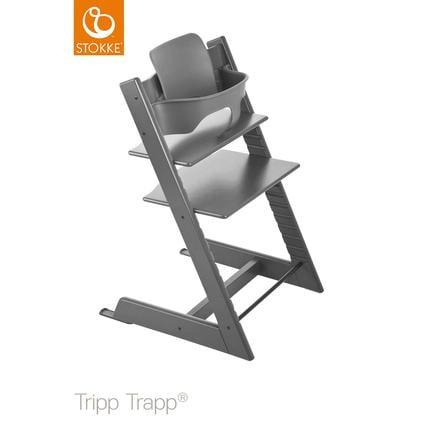 STOKKE® Tripp Trapp® Hochstuhl Buche Strom Grey inkl. Baby Set Storm Grey