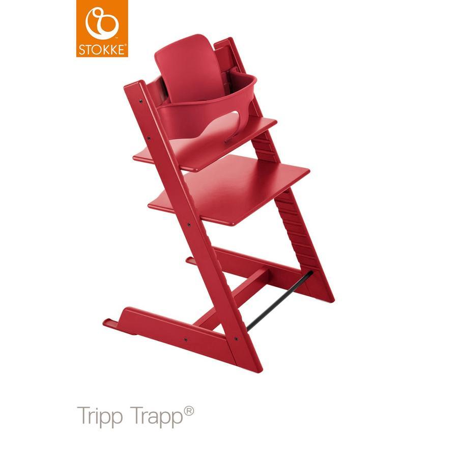 STOKKE® Tripp Trapp® Hochstuhl Buche rot inkl. Baby Set rot