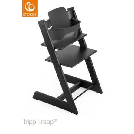 STOKKE® Tripp Trapp® Hochstuhl Buche schwarz inkl. Baby Set schwarz